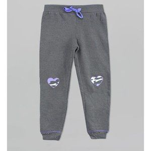 Gray Joggers with Heart Knee Patches